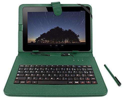 DURAGADGET French AZERTY Green Case with Micro USB Keyboard & Built in Stand for Toshiba AT300SE / AT300-101 / AT300SE-101 & AT200 Tablet PC + Bonus Gift: Micro USB OTG Adapter (Toshiba At300 Keyboard)