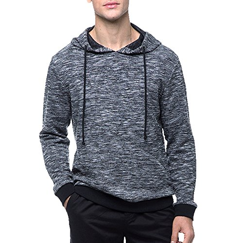 Men's Casual Long Sleeve Knitted Hoodie Sweater (Black, XL) ()