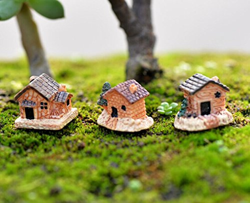 JHFUH Mini Pastoral Dollhouse Stone House Resin Decorations for Home Garden DIY Craft Cottage Landscape Decoration Suitable for Indoor Micro Moss Landscape Decoration