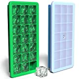 Vremi Silicone Ice Cube Trays with Lids - 2 Ice Tray with BPA Free Plastic Lid for Baby Food or Cocktail - 42 Small Square Ice Molds for Freezer - Stackable and Flexible Twist and Pop for Easy Release