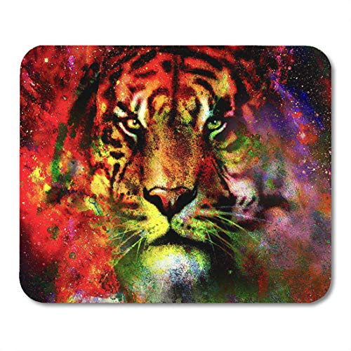 Emvency Mouse Pads Abstract Magical Space Tiger Multicolor Computer Graphic Collage Canvas Face Mouse pad 9.5
