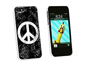 Graphics and More Peace Sign Distressed Inspirational Snap-On Hard Protective For SamSung Galaxy S5 Phone Case Cover - Non-Retail Packaging - White