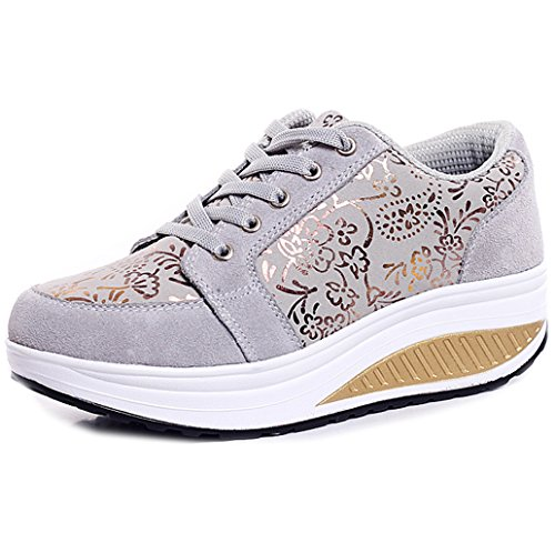 Womens Fitness Walking Shoe - Orlancy Women's Fashion Leather Platform Lace-up Sneakers Walking Shoes Fitness Sports Shoes