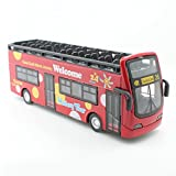 URfashion 1:32 Red Double-decker Bus Alloy Car model Tour Sightseeing bus Die-Cast toy,lighting Music Pull Back