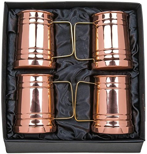 Old Moscow Copper Beer Mugs, 20oz Solid Copper Beer Steins, Gift Set Bundle of 4 - Perfect for Father, Husband, Boyfriend, Men (Fathers Day Beer Gifts)