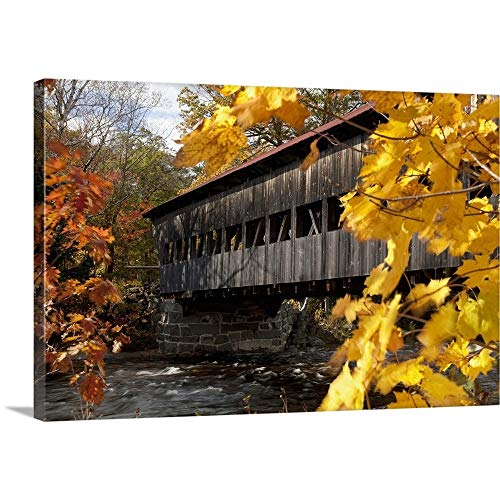 New England, New Hampshire, White Mountains, A Covered Bridge Over A River in Autumn Canvas Wal. (New Hampshire Fall Colors Best Time)