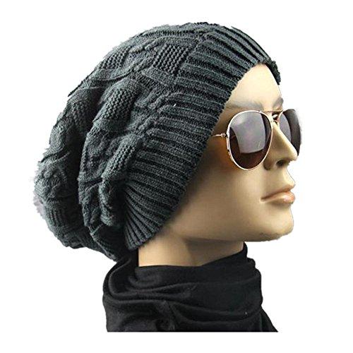 Hemp Wool Hat - Sinfu Men Women Double Decked Hemp Flower Knitting Wool Hat Heap Heap Warm (Dark Gray)