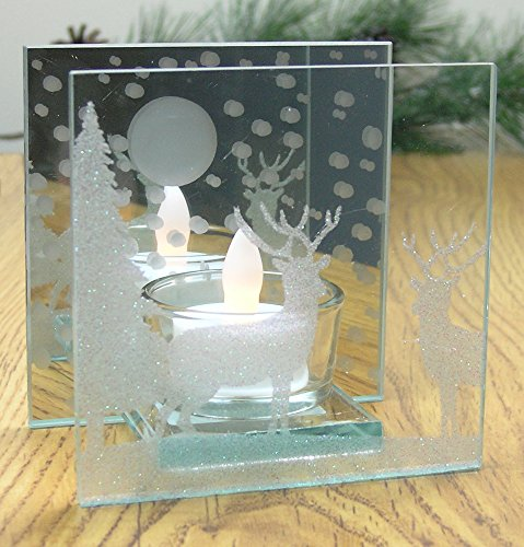 Reindeer Candle Holder - Glittered Christmas Deer Scene Painted on a Mirrored Infinity Candle - White Flameless Tea Light Candle Included by Banberry Designs