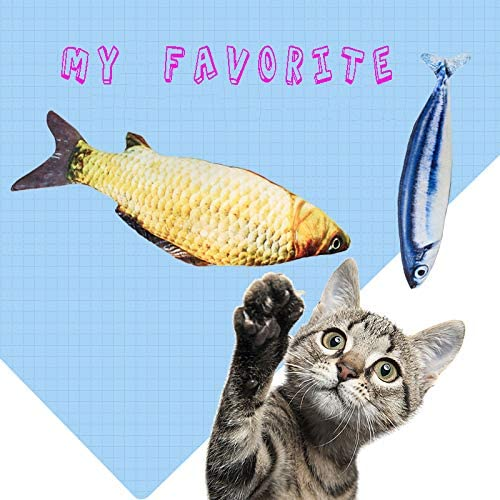 Hapy Shop Catnip Toys 5 Pack - Simulation Fish Shape Realistic Fluffy Catnip Doll Interactive Pets Pillow Chew Bite Supplies for Cat Kitten Kitty 7