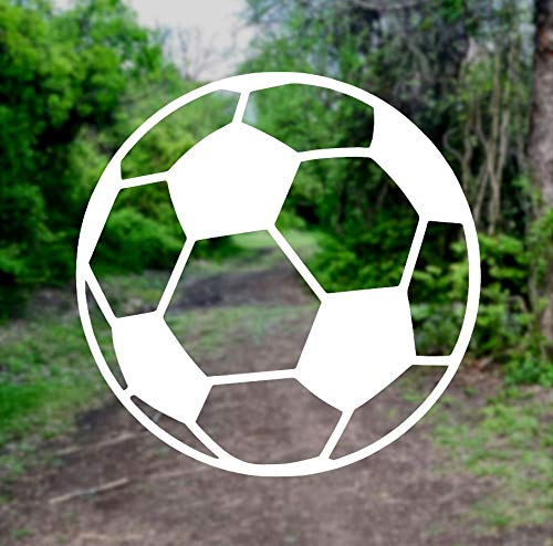 Soccer Ball [Pick Any Color] Vinyl Transfer Sticker Decal for Laptop/Car/Truck/Window/Bumper (3in x 3in (Laptop Size), White) ()