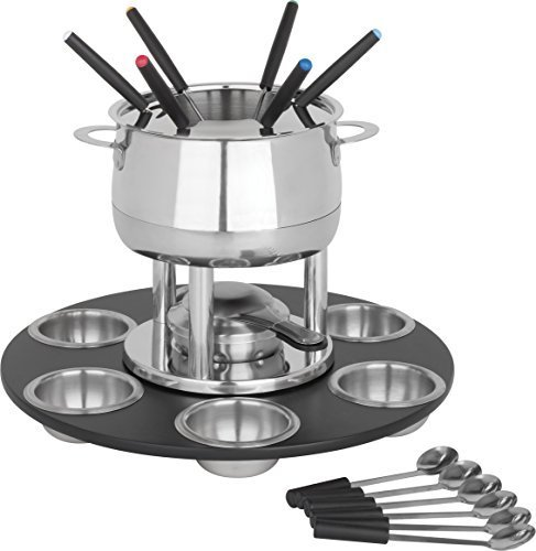 (Trudeau Home Presence 23 Piece Stainless-Steel Lazy Susan Fondue Set - 64 Ounce)