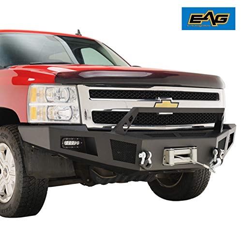 - EAG Front Winch Bumper with LED Lights Heavy Duty Fit for 07-13 Chevy Silverado 1500
