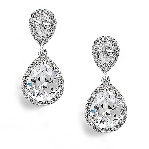 Mariell Teardrop Clip On Dangle Earrings - Pear Shaped Cubic Zirconia Bridal Wedding Earrings for Women