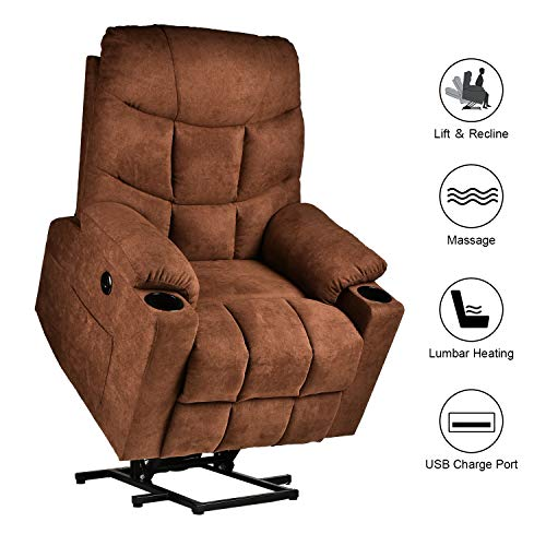 RELAXIXI Power Lift Recliner Chair, Electric Recliners for Elderly, Heated Vibration Massage Sofa with USB Ports, Remote Control, 3 Positions, 2 Side Pockets and Cup Holders (Linen, Chocolate)