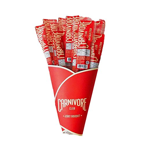 Exotic Meat Jerky Bouquet - 20 Exotic Meat Sticks - Jerky Lover Gift - 4 Flavors - Comes in an Awesome Carnivore Club Box - Birthday - Great Gift For Men