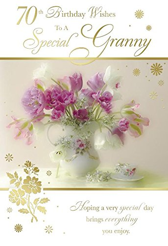 70th Birthday Wishes To A Special Granny Flower Vase Design Happy Card Amazoncouk Kitchen Home