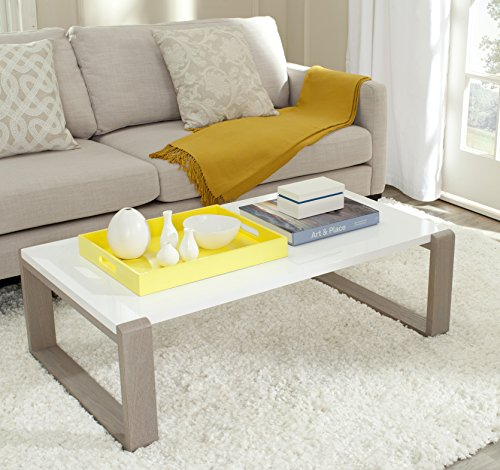 Living Room Safavieh Home Collection Bartholomew Mid-Century Modern White and Grey Lacquer Coffee Table modern coffee tables