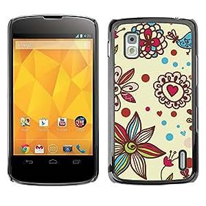 Carcasa Funda Prima Delgada SLIM Casa Case Bandera Cover Shell para LG Google Nexus 4 E960 / Business Style Petal Bloom Hearts Valentines