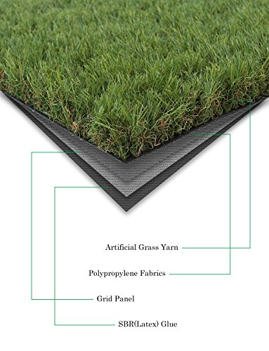 GOLDEN MOON Outdoor Turf Rug Premium Artificial Grass Mat 1 1/2'' Blade Height 5-Tone Realistic & Soft Series Green 3x6ft (18sq ft) by GOLDEN MOON (Image #3)