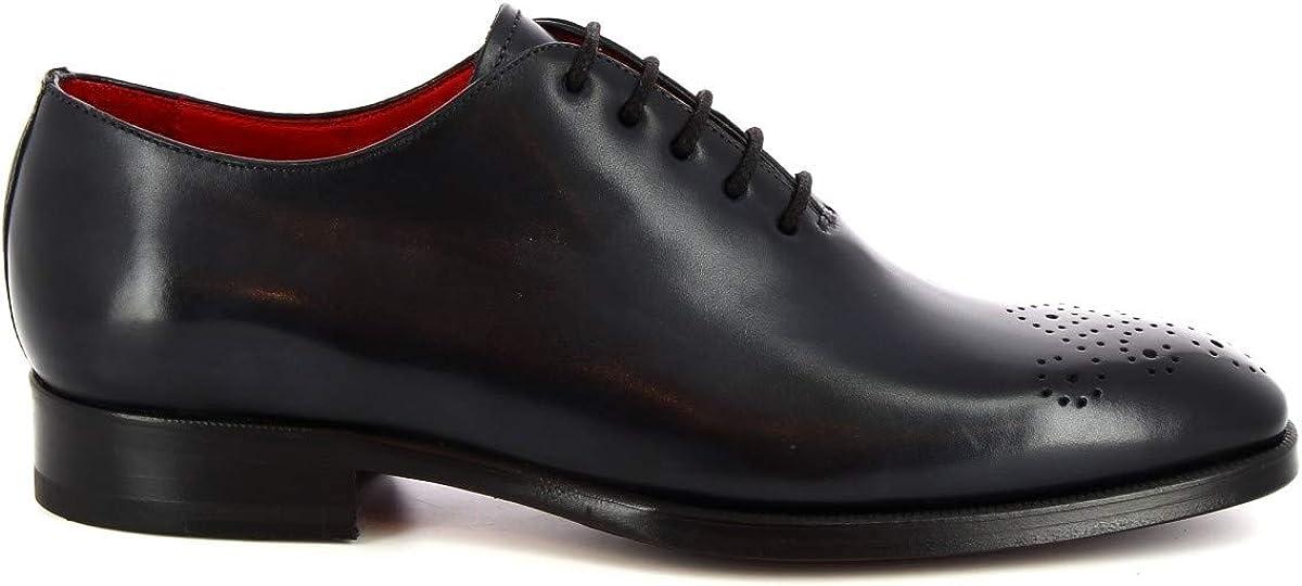 Leonardo Shoes Chaussures Oxford pour Homme à la Main Cuir de Veau Bleu delavè - Code modèle: 8228I18 Tom Vitello Delave BLU Bleu Foncé