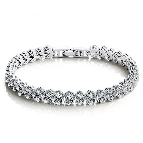 Fashion Womens 925 Sterling Silver Plated 18K Platinum Swarovski Elements Crystal Bracelet (Swarovski Crystal Bracelet Designs)