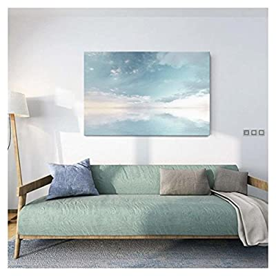Canvas Wall Art - Peaceful Seascape with Skyline Above The Calm Ocean - Giclee Print Gallery Wrap Modern Home Art Ready to Hang - 12
