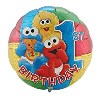 "Sesame Street 1st Birthday 18"" Foil Balloon Baby Characters First Party"