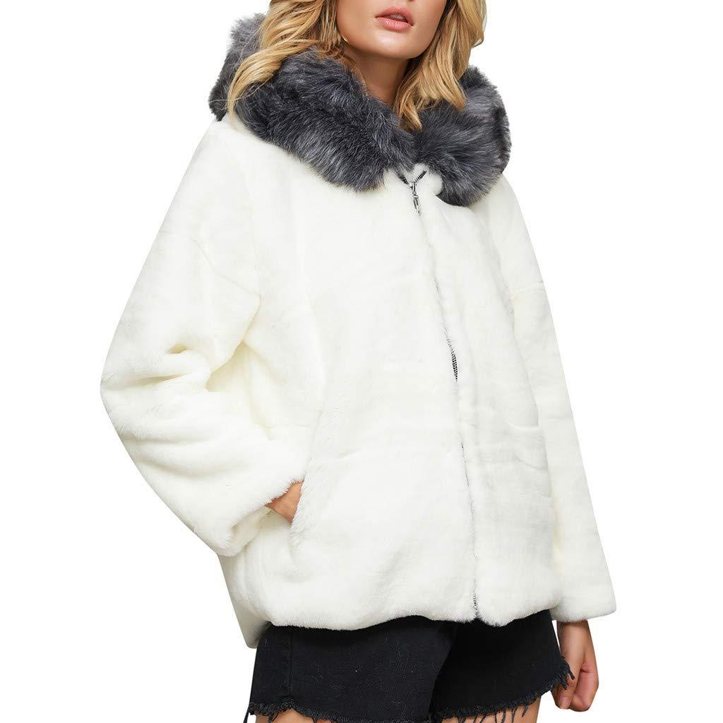 Winter Plush Coats for Women Girls,Jchen Winter Keep Warm Plush Hoodie Long Sleeve Zip Up Sweatshirt Fleece Jacket Coats White by Jchen_Women Coat