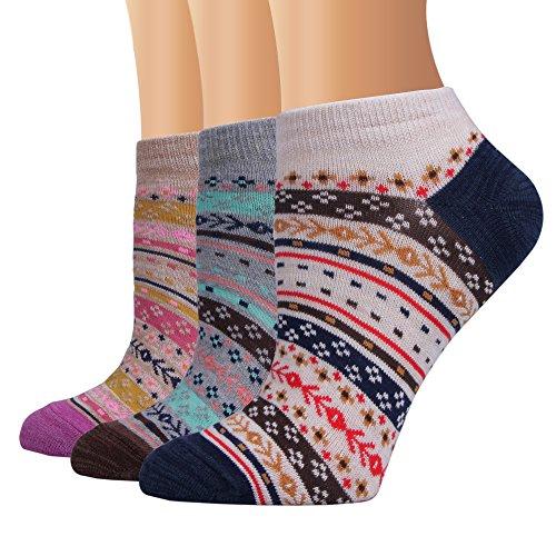 AMKMAX Women Socks Short Cotton Ethnic Style Socks 3Pairs (LB50007)