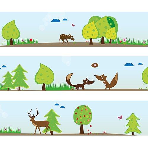 Bordi da parete Animali del bosco Wandkings Lunghezza: 450 cm, autoadesivi, per la stanza dei bambini