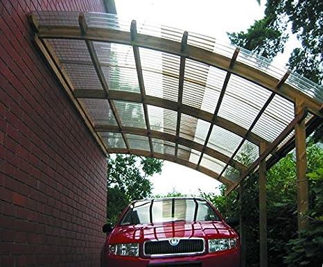 Conwy - Cochera individual con techo de PVC ondulado. Dimensiones ...