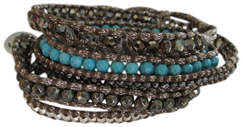 Chan Luu Semi Precious Turquoise And Silver Multi Wrap On Grey Shimmer Cord Bracelet by Chan Luu