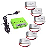 Wwman 6PCS 3.7V 380mAh Battery and 1to6 Charger for TOZO Q2020 i Drone I4S YIZHAN RC quadcopter drone spare parts