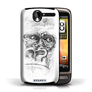 KOBALT? Protective Hard Back Phone Case / Cover for HTC Desire G7 | Gorilla/Monkey/Ape Design | Sketch Drawing Collection by lolosakes