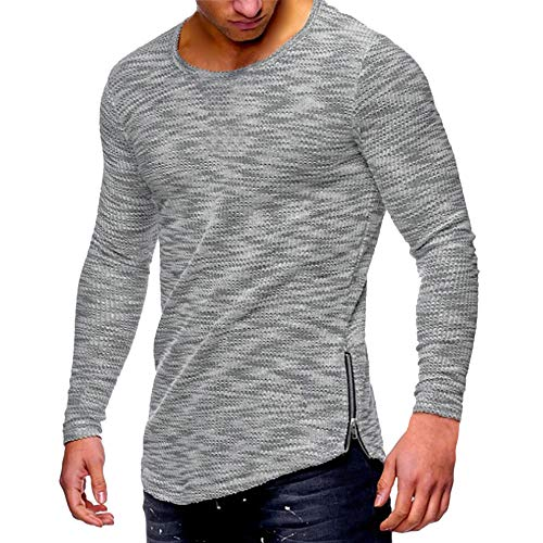 HGWXX7 Men's Fashion Solid O Neck Long Sleeve Muscle Tee T-Shirt Tops Blouse (L, S-Gray)