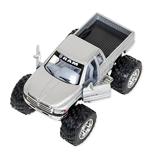 Silver Dodge Ram with Monster Wheels 5 inch Die Cast Pull Back Action Toy