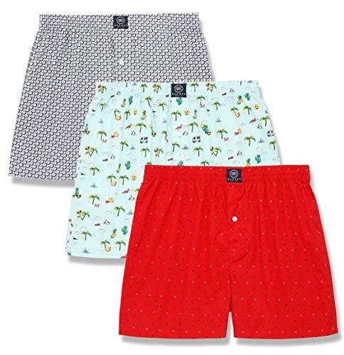 (Badger Smith Men's 3 - Pack Cotton Print Multicolor Boxer Shorts (XL, Multi Pack of 3))