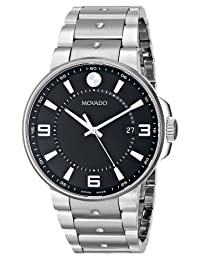 Movado Men's 0606761 SE. Pilot Stainless Steel Case and Bracelet Black Dial Watch