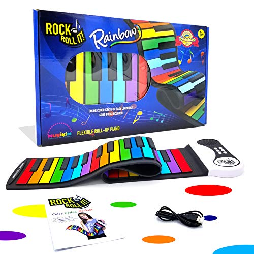 Rock And Roll It - Rainbow Piano. Flexible, Completely Portable, 49 standard Keys, battery OR USB powered. Includes play-by-color song - Color Color Sustain