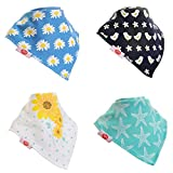 Zippy Fun Baby and Toddler Bandana Bib - Absorbent 100% Cotton Front Dribble Bibs with Adjustable Snaps (4 Pack Gift Set) Girls Summer Fun
