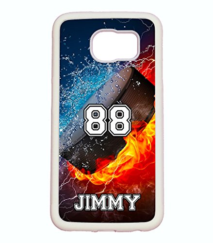 Personalized Hockey Pucks (Galaxy S6 Case, ArtsyCase Thunder Water Fire Hockey Puck Personalized Name Number Phone Case for Samsung Galaxy S6 (White))