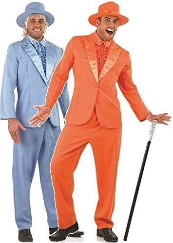 Couples Mens Dumb AND Dumber 1990s Decades Film Jim Carey Jeff Daniels TV Stag Do Fancy Dress Costumes Outfit (Orange Suit M & Blue Suit L) by Fancy -