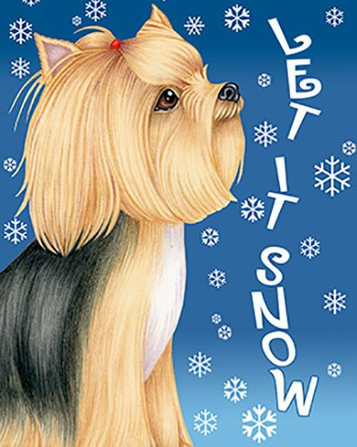 Amazoncom Yorkie Show Cut Best Of Breed Let It Snow House Flag