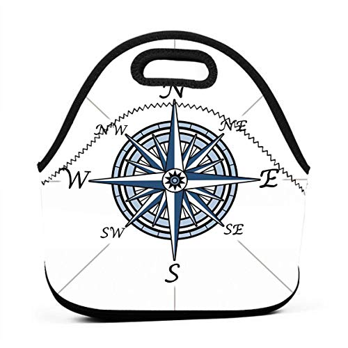 (Portable Lunch Bag Carry Case Tote Container Bags,Sea Color Themed Voyage Windrose Discovery Marine Design Work Of Art,Unisex Outdoor Travel Fashionable Handbag Pouch for)