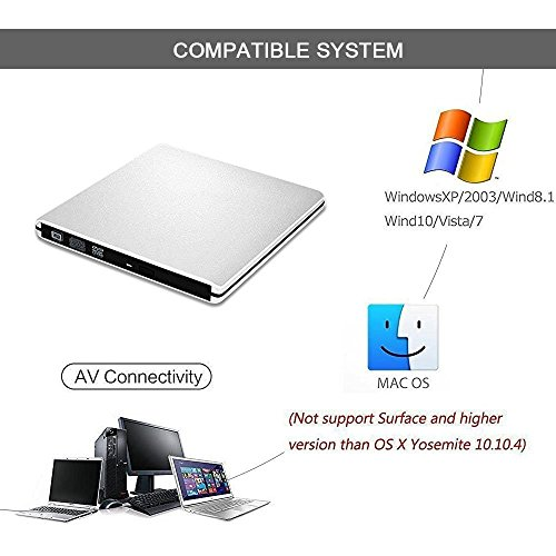 External DVD CD Drive, Sunreal USB 3.0 Portable CD/DVD-RW Player/Burner/Writer, Optical DVD Superdrive for Laptop/Desktop/Computer Support Windows by Sunreal (Image #1)'