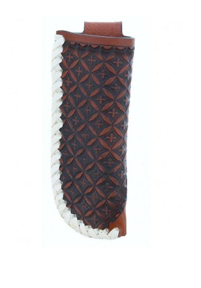 Twisted X Brown Crosses with Rawhide Trim Knife Sheath 3 3/4'' (XW3-5)