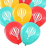 Nerdy Words Hot Air Balloon Design Latex Balloons (16 pcs) Carnival / Circus Decorations (Butterscotch, Aqua, Red)