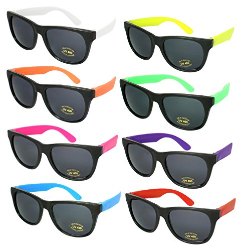 Edge I-Wear 8 Pack Neon Party Sunglasses CPSIA certified-Lead(Pb) Content Free UV 400 Lens(Made in Taiwan)5402RA-SET-8 (Plastic Wayfarer Sunglasses)