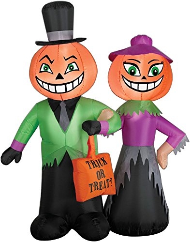 Gemmy Inflatable Halloween Pumpkin Head Couple Scene, 4-Feet