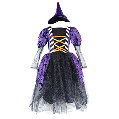 Creative Halloween Costumes For 9 Year Olds (Witch Costume Girls Halloween Party Kids Deluxe Wizard Queen Fancy Dress with Hat (4-6))
